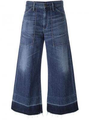 Укороченные широкие джинсы Citizens Of Humanity. Цвет: синий