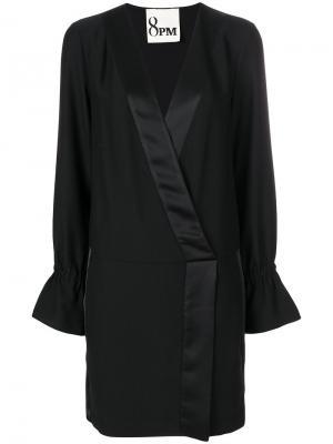 Платье с V-образным вырезом и сборками 8pm. Цвет: чёрный