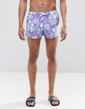 Swells Короткие шорты с принтом. Цвет: синий