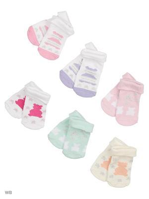 Носки детские, комплект 6шт. Malerba. Цвет: белый, светло-голубой, розовый