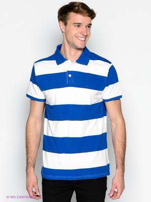 Футболка-поло Blue Seven. Цвет: синий, белый
