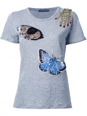 Декорированная футболка Alexander McQueen. Цвет: серый