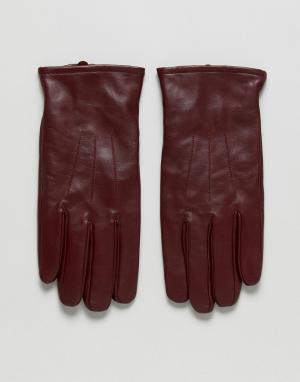 ASOS Бордовые кожаные перчатки. Цвет: красный