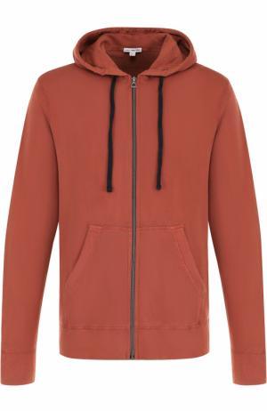 Хлопковая толстовка на молнии с капюшоном James Perse. Цвет: оранжевый