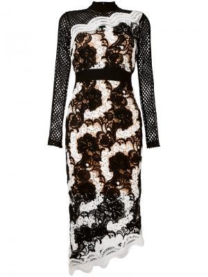 Асимметричное кружевное платье Self-Portrait. Цвет: чёрный