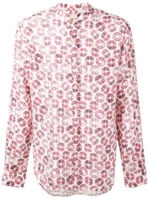 Рубашка с узором из кругов Xacus. Цвет: белый