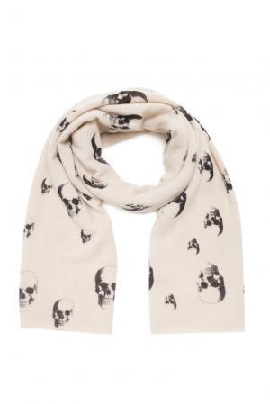 Кашемировый шарф SF-156241 Skull Cashmere. Цвет: бежевый