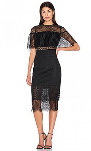 Миди платье с зауженным подолом Cynthia Rowley. Цвет: черный
