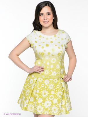 Платье Amelia Lux. Цвет: горчичный, молочный