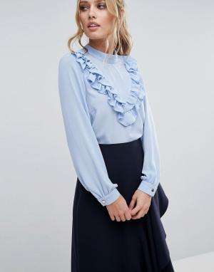 Closet London Блузка с длинными рукавами и оборками. Цвет: синий