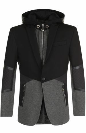 Однобортный пиджак из вискозы с капюшоном Philipp Plein. Цвет: темно-серый