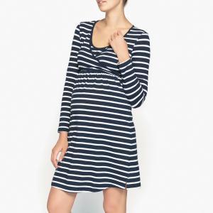 Рубашка ночная для периода беременности и грудного вскармливания La Redoute Collections. Цвет: темно-синий/ белый