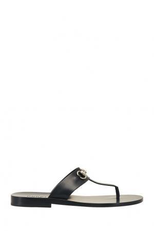 Черные кожаные сандалии Gucci. Цвет: черный