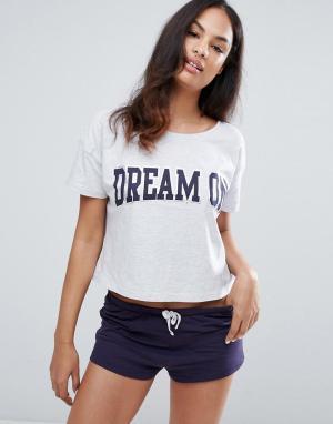 New Look Пижамные футболка и шорты. Цвет: фиолетовый