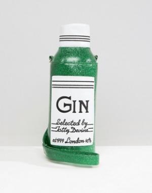 Tatty Devine Бутылка для воды и чехол с надписью Gin. Цвет: мульти