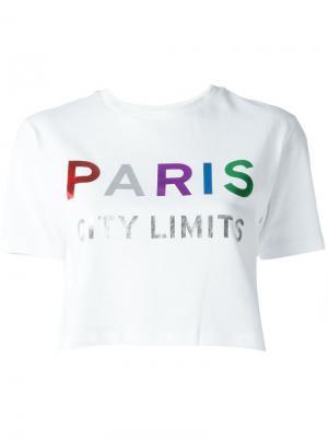 Укороченная футболка Paris Être Cécile. Цвет: белый