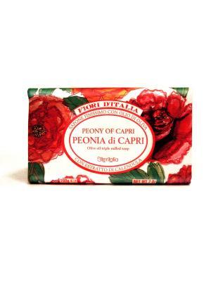 Натуральное косметическое мыло с оливковым маслом, аромат ПИОНЫ КАПРИ Iteritalia. Цвет: красный