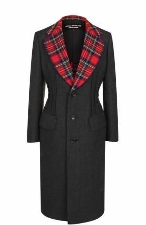 Приталенное шерстяное пальто с контрастными лацканами Junya Watanabe. Цвет: серый