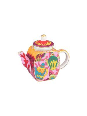 Сувенир-чайник Чайнички Elan Gallery. Цвет: розовый, желтый, зеленый, красный