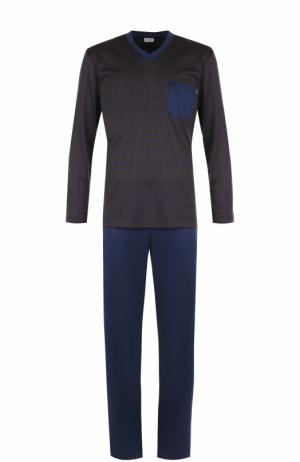 Хлопковая пижама с брюками Zimmerli. Цвет: темно-коричневый