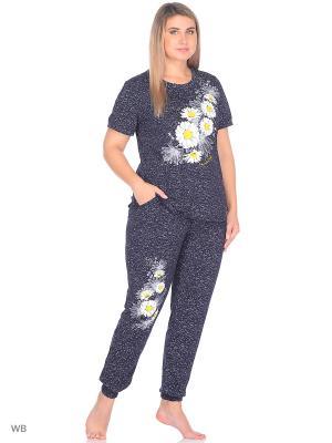 Комплект домашней одежды(туника,брюки) HomeLike. Цвет: темно-синий, белый, желтый