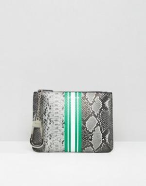 Skinnydip Клатч со змеиным принтом Okapi. Цвет: мульти