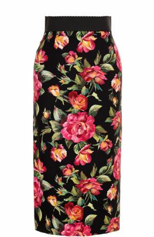 Юбка-карандаш с разрезом и цветочным принтом Dolce & Gabbana. Цвет: разноцветный