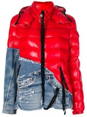 Куртка с капюшоном и джинсовой вставкой Moncler X Craig Green. Цвет: красный
