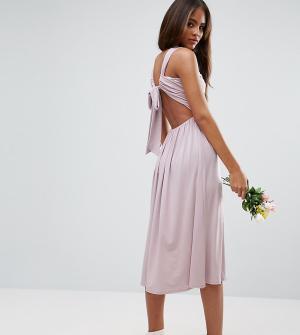 ASOS Tall Платье миди с V-образным вырезом и сборками. Цвет: фиолетовый