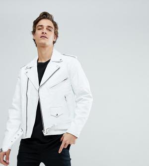 Reclaimed Vintage Кожаная байкерская куртка Inspired. Цвет: белый