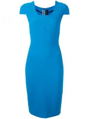 Приталенное платье Roland Mouret. Цвет: синий