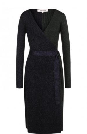 Вязаное платье с запахом и металлизированной нитью Diane Von Furstenberg. Цвет: темно-фиолетовый