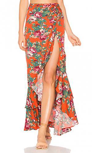 Stevie frill wrap maxi skirt AUGUSTE. Цвет: красный
