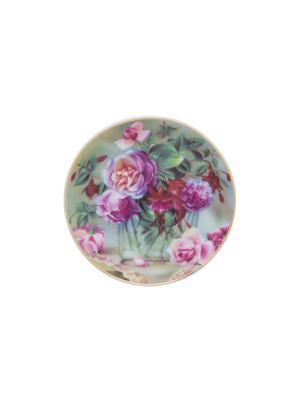 Тарелка декоративная Букет в прозрачной вазе Elan Gallery. Цвет: зеленый, розовый