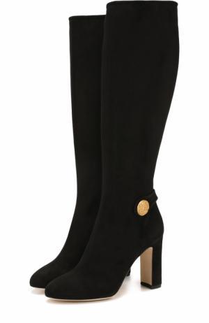 Замшевые сапоги Vally на устойчивом каблуке Dolce & Gabbana. Цвет: черный