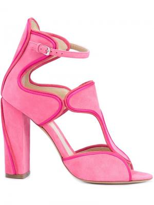 Босоножки с вырезными деталями Monique Lhuillier. Цвет: розовый и фиолетовый
