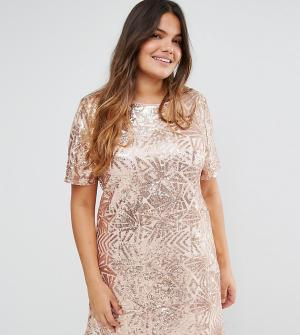 Truly You Платье с короткими рукавами и сплошной декоративной отделкой. Цвет: золотой