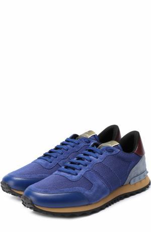 Комбинированные кроссовки  Garavani Rockrunner с контрастной отделкой Valentino. Цвет: синий