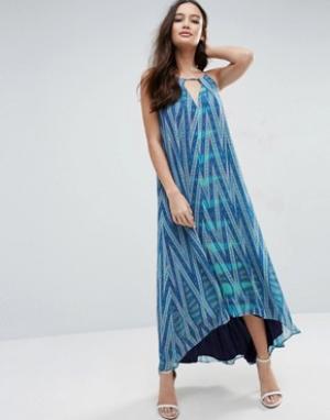 Adelyn Rae Платье макси с принтом. Цвет: синий