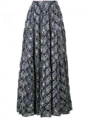 Длинная юбка с цветочным узором Co. Цвет: синий