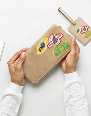 ASOS Бежевый замшевый подарочный набор из дорожного бумажника и бирки со зн. Цвет: бежевый
