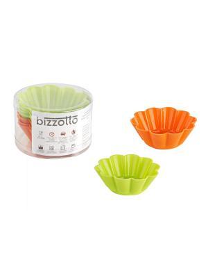 Набор из 6 формочек для выпечки Bizzotto. Цвет: оранжевый, зеленый