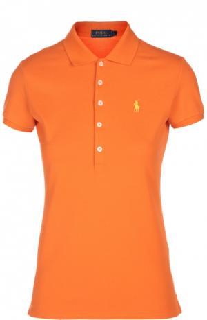 Поло с вышитым логотипом бренда Polo Ralph Lauren. Цвет: оранжевый