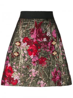 А-образная юбка с цветочным жаккардовым узором Dolce & Gabbana. Цвет: многоцветный
