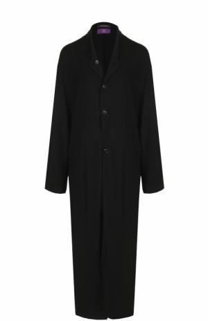 Шерстяное приталенное пальто с карманами Yohji Yamamoto. Цвет: черный