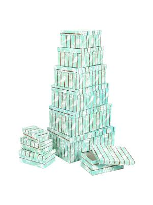 Набор из 10 прямоугольных коробок 12*6,5*4-30,5*20*13см, Грезы путешественника VELD-CO. Цвет: бирюзовый
