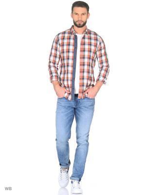 Рубашка TOM TAILOR. Цвет: красный, белый, оранжевый, синий