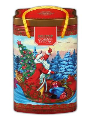 Чай Hilltop банка-пакет Дед Мороз с подарками Королевское золото 125г. Цвет: черный