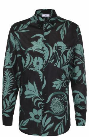 Хлопковая рубашка с цветочным принтом Ami. Цвет: зеленый