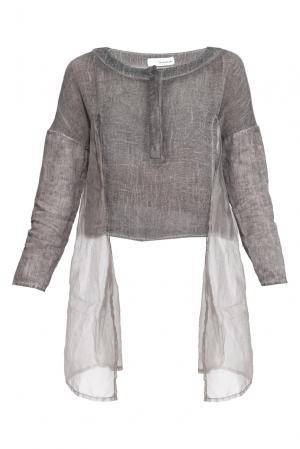Блуза изо льна с шелковыми вставками 161034 Un-namable. Цвет: серый